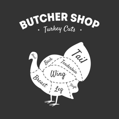 Butcher Shop Label, Turkey Cuts, Farm Poultry with Meat Cuts Lines, Vintage Black and White Vector Illustration 向量圖像