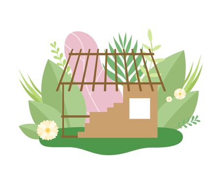 Process of Building Wooden Country House, Small Cottage under Construction in Spring or Summer Season with Blooming Flowers and Leaves Vector Illustration on White Background. Иллюстрация