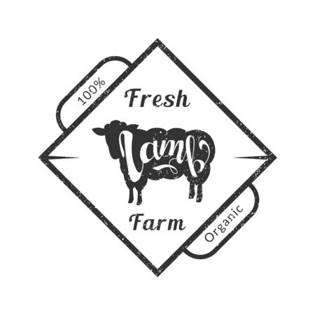 Organic Fresh Farm Meat, Premium Quality Retro Template, Badge with Lamb for Butchery, Meat Shop, Packaging or Advertising Vector Illustration