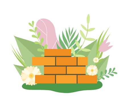 Brick Wall Surrounded Blooming Flowers and Leaves in Spring or Summer Season Vector Illustration on White Background. Иллюстрация