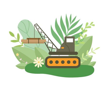 Hydraulic Crawler Crane Lifting Heavy Load in Spring or Summer Season with Blooming Flowers and Leaves Vector Illustration on White Background. Vector Illustration on White Background 向量圖像