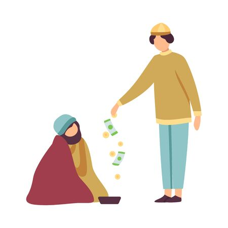 Muslim Man Giving Money to Homeless Celebrating Eid Al Adha Muslim Holy Islamic Holiday Vector Illustration