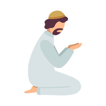 Muslim Man Praying on His Knees, Man Communicating with God, Eid Al Adha Islamic Holiday Vector Illustration Ilustração