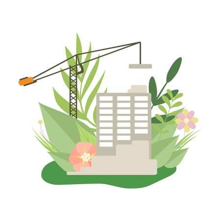 Multi Storey House in Construction Process, House and Crane in Spring or Summer Season with Blooming Flowers and Leaves Vector Illustration on White Background. Иллюстрация