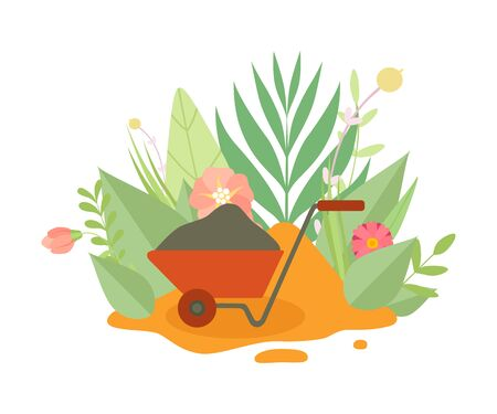 Wheelbarrow for Gardening or Construction Surrounded Blooming Flowers and Leaves in Spring or Summer Season Vector Illustration on White Background.