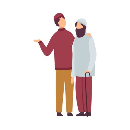 Muslim Men Greeting and Hugging Each Other as They Celebrating Eid Al Adha Islamic Holiday Vector Illustration