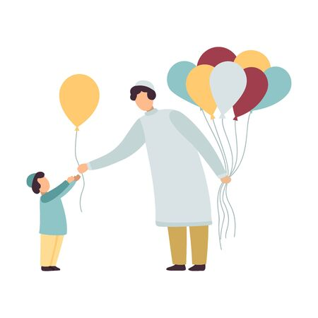 Muslim Father and His Son, Happy Arab Family in Traditional Clothes Vector Illustration on White Background.