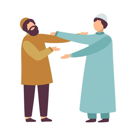 Muslim Men in Traditional Clothing Greeting Each Other as They Celebrating Eid Al Adha Islamic Holiday Vector Illustration Ilustração