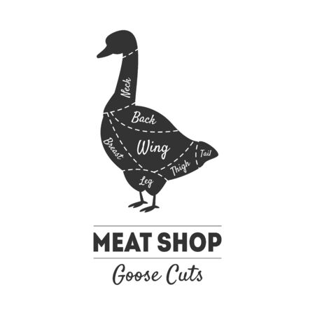 Meat Shop Label, Goose Cuts, Butchers Guide, Farm Poultry with Meat Cuts Lines, Vintage Black and White Vector Illustration