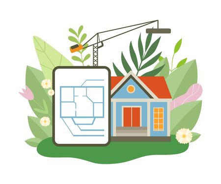 Process of Building Country House, Architectural Floor Plan, Small Cottage in Spring or Summer Season with Blooming Flowers and Leaves Vector Illustration on White Background. Иллюстрация
