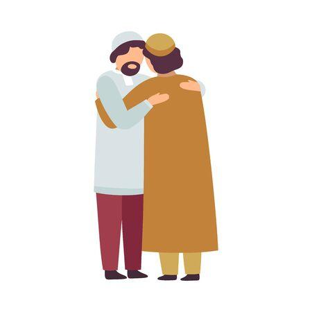 Muslim Men Hugging Each Other as They Celebrating Eid Al Adha Islamic Holiday Vector Illustration Ilustração
