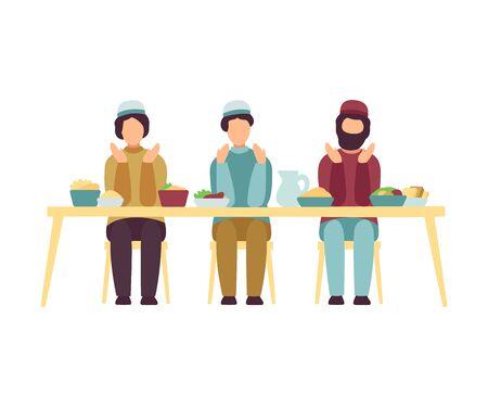 Muslim Men Eating Together During Eid Al Adha Muslim Holy Islamic Holiday Vector Illustration