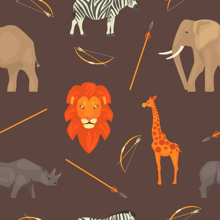 Africa Seamless Pattern with Jungle Animals, Design Element Can Be Used for Fabric, Wallpaper, Packaging, Background Vector Illustration.