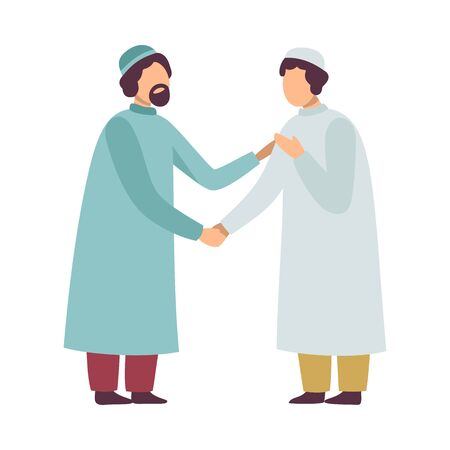 Muslim Men in Traditional Clothing Greeting Each Other and Shaking Hands as They Celebrating Eid Al Adha Islamic Holiday Vector Illustration on White Background Ilustração