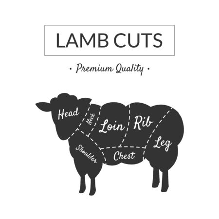 Lamb Cuts, Butcher Shop Label Premium Quality, Farm Animal with Meat Cuts Lines, Vintage Black and White Vector Illustration  イラスト・ベクター素材