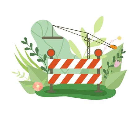 Under Construction Barrier and Crane in Blooming Flowers and Leaves in Spring or Summer Season Vector Illustration on White Background. Stock Illustratie