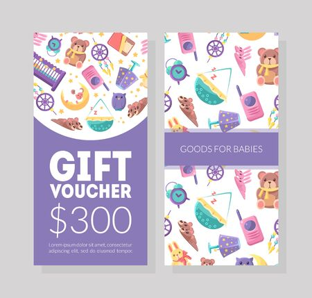 Baby Goods Gift Voucher Template, Kids Store Certificate or Coupon with Cute Childish Pattern, Design Element for Poster, Voucher, Flyer Vector Illustration. 矢量图像
