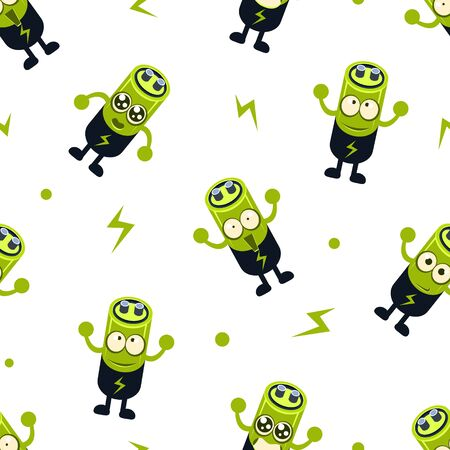 Cute Battery Character Seamless Pattern, Childish Style Design Element Can Be Used for Fabric, Wallpaper, Packaging, Background Vector Illustration. Vector Illustration