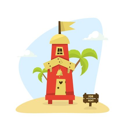 Wooden Tropical Bungalow, House on Beach for Rent, Travel and Vacation Vector Illustration, Web Design.