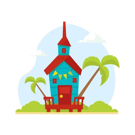 Wooden Tropical Bungalow, House on Beach, Travel and Vacation Vector Illustration, Web Design. Иллюстрация