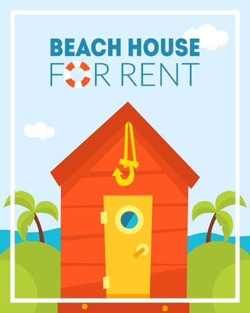 Strandhaus zu vermieten Banner-Vorlage, tropischer Bungalow, Sommerresort, Reise- und Ferien-Vektor-Illustration
