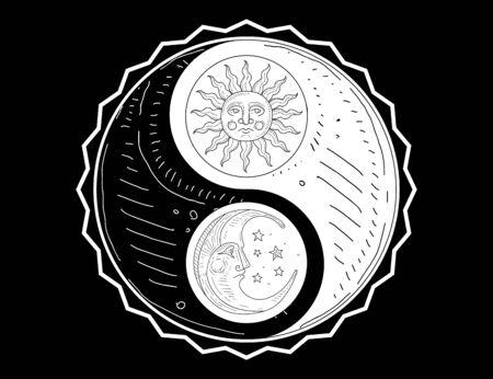 Handgezeichnetes Yin-Yang-Symbol, Sonne und Mond mit Gesichts-Monochrom-Vektor-Illustration, Webdesign.