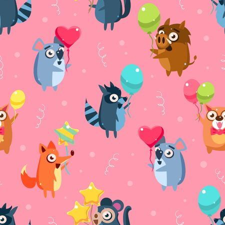 Cute Funny Animals with Colorful Balloons Seamless Pattern, Childish Style Design Element Can Be Used for Fabric, Wallpaper, Packaging, Background Vector Illustration. Illustration