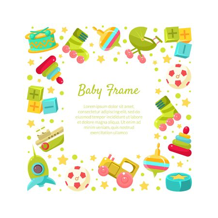 Baby Frame of Square Shape with Place for Text and Cute Toys Vector Illustration, Web Design.