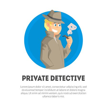 Private Detective Banner Template, Police Inspector, Professional Surveillance Work Vector Illustration, Web Design.