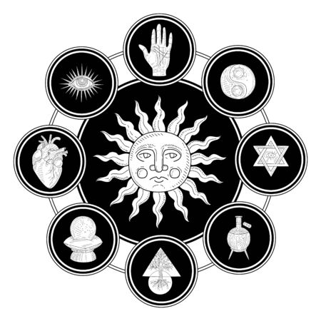 Antique Sun Surrounded by Esoteric, Philosophic, Occult, Mystical Symbols Monochrome Hand Drawn Vector Illustration