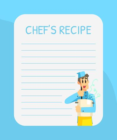 Blank Recipe Card Template with Cheerful Chef, Cookbook Page Vector Illustration, Web Design.
