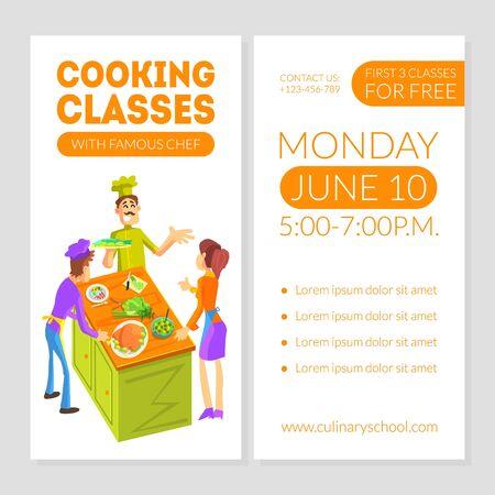 Modèle de carte de cours de cuisine avec place pour le texte, élément de conception d'école culinaire, bannière, affiche, invitation, bon, flyer, illustration vectorielle de coupon.