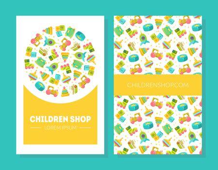 Children Shop Business Card Template with Cute Childish Pattern Vector Illustration, Web Design Ilustração