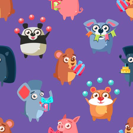 Cute Funny Circus Animals Seamless Pattern, Childish Style Design Element Can Be Used for Fabric, Wallpaper, Packaging, Background Vector Illustration.