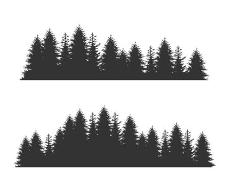 Forest Fir Trees Silhouettes, Coniferous Spruce Horizontal Seamless Pattern, Black Evergreen Woods Vector Illustration, Web Design.