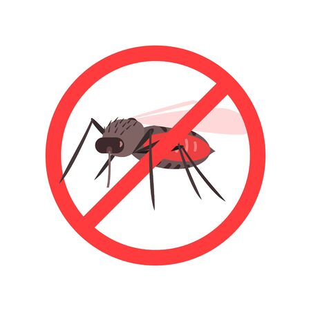Mosquitoes Warning Prohibited Stop Sign, Caution of Mosquito Vector Illustration on White Background.