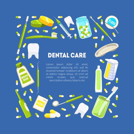 Dental Service Banner Template, Dentistry tools and Hygiene Frame with Place for Text Vector Illustration, Web Design.