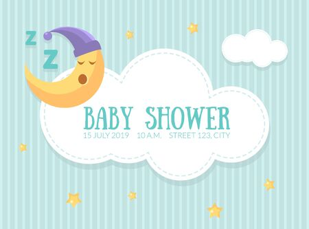 Baby Shower Invitation Template, Cute Card with Sleeping Moon, Cloud and Place For Text Vector Illustration, Web Design. 向量圖像
