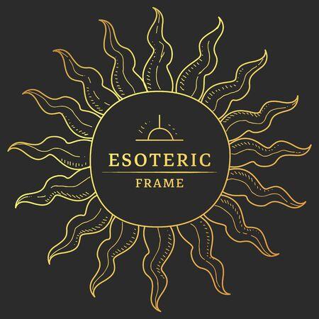 Rahmen in Form von Sonnenstrahlen, okkulte Symbol-Vektor-Illustration, Webdesign.