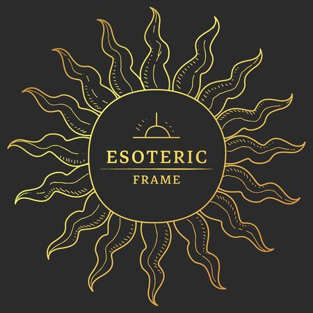 Frame in Shape of Sun Rays, Occult Symbol Vector Illustration, Web Design.