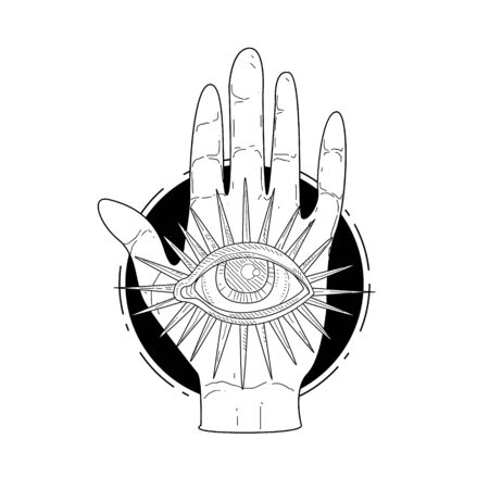 Mysterious Divine Hand and Providence Eye, Esoteric Occult Symbol Hand Drawn Monochrome Vector Illustration, Web Design.