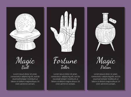 Esoteric Banners Templates Set, Magic Ball, Fortune Teller, Magic Potion, Philosophic, Occult, Mystical Symbols Monochrome Hand Drawn Vector Illustration, Web Design. Иллюстрация
