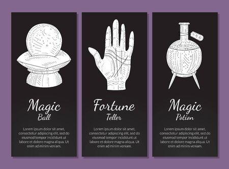 Esoteric Banners Templates Set, Magic Ball, Fortune Teller, Magic Potion, Philosophic, Occult, Mystical Symbols Monochrome Hand Drawn Vector Illustration, Web Design. Illustration