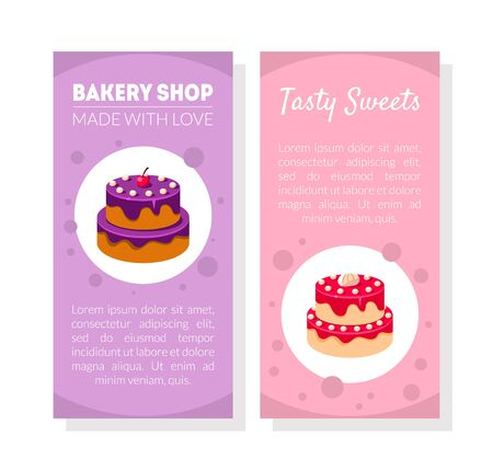 Bakery Shop Card Template with Place for Text, Tasty Sweets Made with Love, Confectionery, Restaurant, Cafe, Design Element, Banner, Poster, Invitation, Voucher, Flyer, Coupon Vector Illustration.