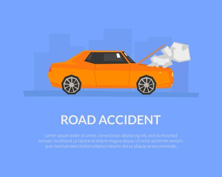 Road Accident Banner Template with Place for Text, Damaged and Broken Auto, Car Insurance Service Landing Page Vector Illustration, Web Design.