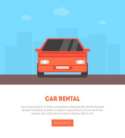 Car Rental Landing Page with Place for Text, Renting, Selling, Leasing Auto Service Business Vector Illustration, Web Design.