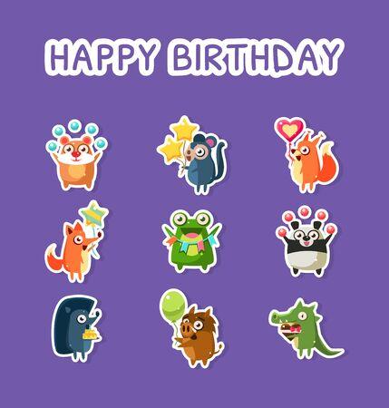 Happy Birthday Set, Cute Funny Animals Stickers with Balloons, Hamster, Monkey, Fox, Squirrel, Frog, Panda, Hedgehog Crocodile Boar Vector Illustration Web Design Illustration