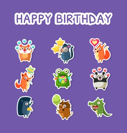 Happy Birthday Set, Cute Funny Animals Stickers with Balloons, Hamster, Monkey, Fox, Squirrel, Frog, Panda, Hedgehog Crocodile Boar Vector Illustration Web Design Illustration