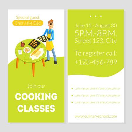 Modèle de carte de cours de cuisine, élément de conception d'école culinaire, bannière, affiche, invitation, bon, Flyer Coupon Vector Illustration Vecteurs