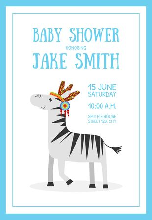 Baby Shower Banner Template with Place for Text and Cute Wild Zebra Ethnic Animal Vector Illustration, Web Design. Archivio Fotografico - 128165452